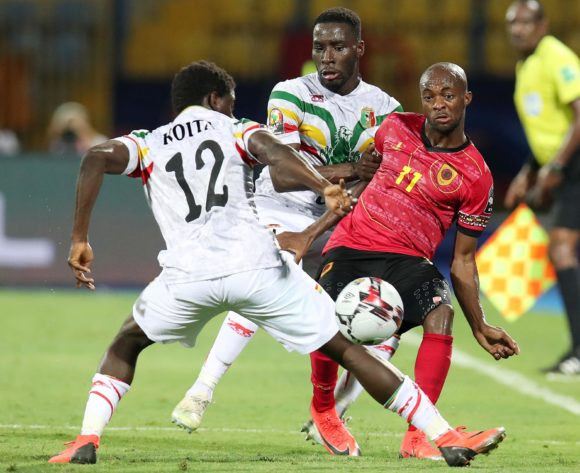 Geraldo Da Costa of Angola challenged by Massadio Haidara and Sekou Koita of Mali (12) during the 2019 Africa Cup of Nations match between Angola and Mali at the Ismailia Stadium, Ismailia on the 02 July 2019 ©Muzi Ntombela/BackpagePix