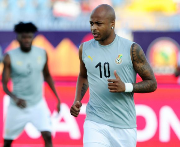 Andre Ayew of Ghana warms up before during the 2019 Africa Cup of Nations Finals football match between Guinea Bissau and Ghana at the Suez Stadium, Suez, Egypt on 02 July 2019 © Ryan Wilkisky/BackpagePix