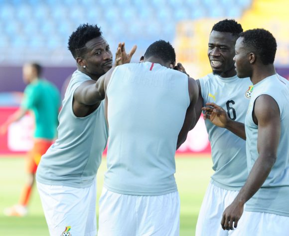 Ghana players warm up before the 2019 Africa Cup of Nations Finals football match between Guinea Bissau and Ghana at the Suez Stadium, Suez, Egypt on 02 July 2019 © Ryan Wilkisky/BackpagePix