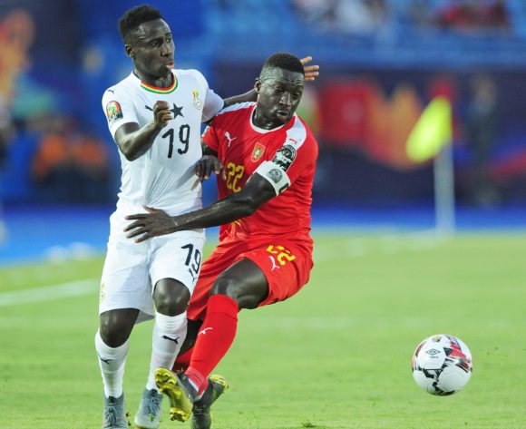 Samuel Owusu of Ghana takes on Mamadu Cande of Guinea-Bissau during the 2019 Africa Cup of Nations Finals football match between Guinea Bissau and Ghana at the Suez Stadium, Suez, Egypt on 02 July 2019 © Ryan Wilkisky/BackpagePix