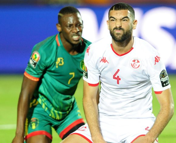 Dylan Bronn of Tunisia grimaces after Ismael Diakite of Mauritania comes close to scoring during the 2019 Africa Cup of Nations Finals football match between Mauritania and Tunisia at the Suez Stadium, Suez, Egypt on 02 July 2019 © Ryan Wilkisky/BackpagePix