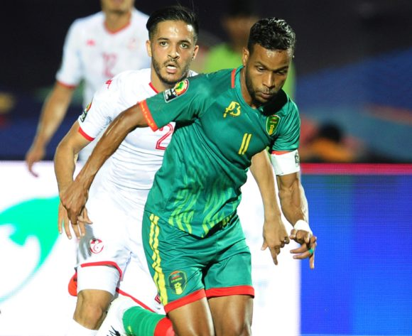 Khalil Moulaye Ahmed Bessam of Mauritania goes past Wajdi Kechrida of Tunisia during the 2019 Africa Cup of Nations Finals football match between Mauritania and Tunisia at the Suez Stadium, Suez, Egypt on 02 July 2019 © Ryan Wilkisky/BackpagePix