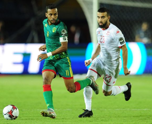 Khalil Moulaye Ahmed Bessam of Mauritania takes on Sliti Naim of Tunisia during the 2019 Africa Cup of Nations Finals football match between Mauritania and Tunisia at the Suez Stadium, Suez, Egypt on 02 July 2019 © Ryan Wilkisky/BackpagePix