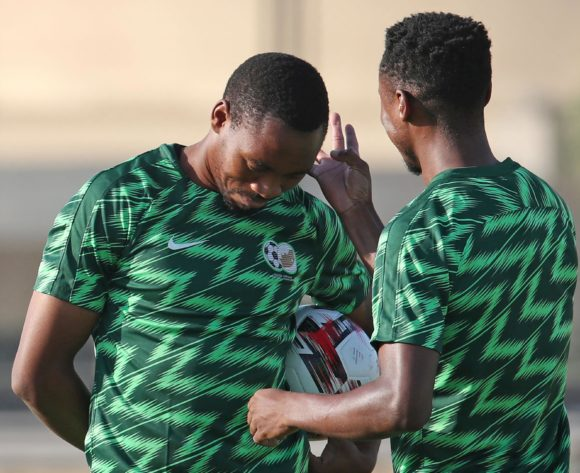 Themba Zwane with Sibusiso Vilakazi of South Africa during the 2019 Africa Cup of Nations South Africa Training at the Aero Sports Complex, Cairo on the 04 July 2019 ©Muzi Ntombela/BackpagePix