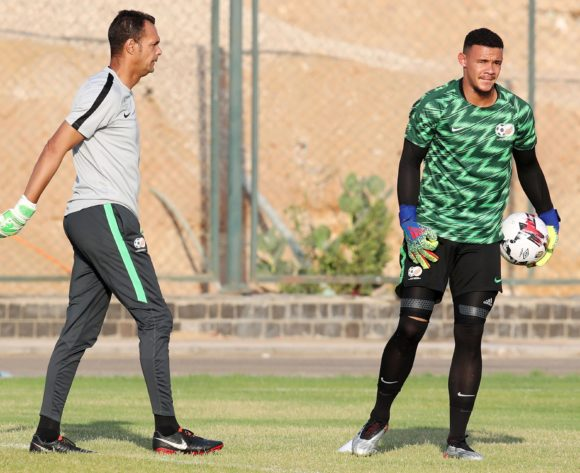 Ronwen Williams with Andre Arendse goalkeeper coach of South Africa during the 2019 Africa Cup of Nations South Africa Training at the Aero Sports Complex, Cairo on the 04 July 2019 ©Muzi Ntombela/BackpagePix