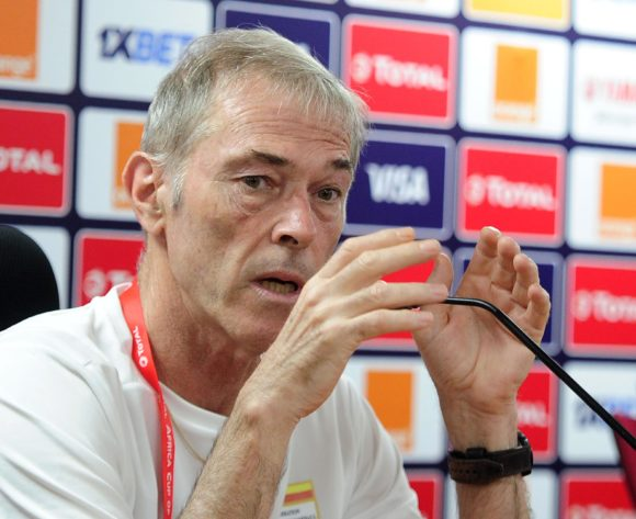 Michel Dussuyer, head coach of Benin talks to media during the 2019 Africa Cup of Nations Finals press conference for Benin at Al Salam Stadium in Cairo, Egypt on 04 July 2019 © Ryan Wilkisky/BackpagePix