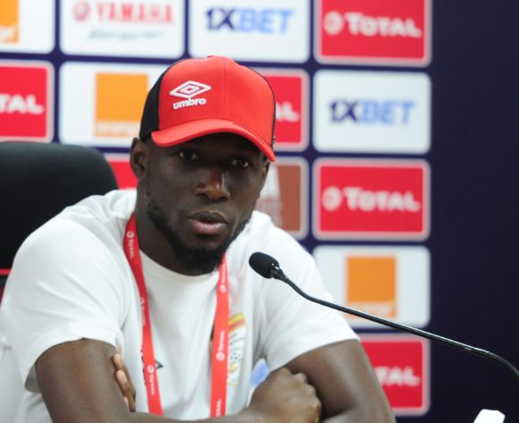 Mickael Pote of Benin talks to media during the 2019 Africa Cup of Nations Finals press conference for Benin at Al Salam Stadium in Cairo, Egypt on 04 July 2019 © Ryan Wilkisky/BackpagePix