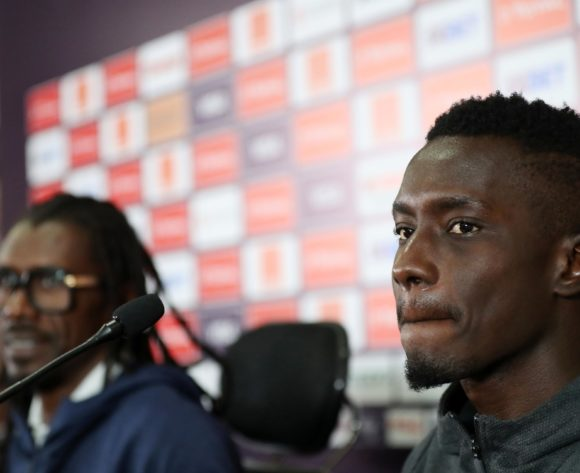 Idrissa Gueye of Senegal and Aliou Cisse, head coach of Senegal during the 2019 Africa Cup of Nations Finals Senegal press conference at Cairo International Stadium, Cairo, Egypt on 04 July 2019 ©Samuel Shivambu/BackpagePix
