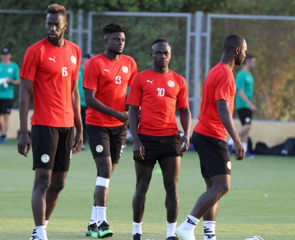 Sadio Mane (c) of Senegal warm up with his teammates during the 2019 Africa Cup of Nations Finals Senegal training at 30 June Annexe, Cairo, Egypt on 04 July 2019 ©Samuel Shivambu/BackpagePix