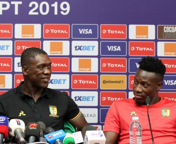 Clarence Seedorf, head coach of Cameroon with Andre Onana of Cameroon during the 2019 Africa Cup of Nations Cameroon Press Conference at the Alexandria Stadium, Alexandria on the 05 July 2019 ©Muzi Ntombela/BackpagePix