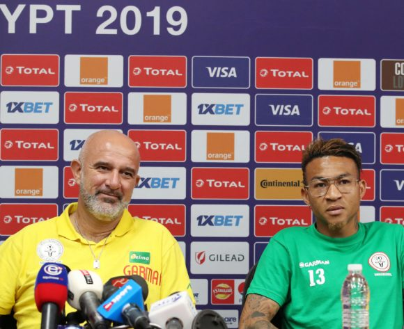 Nicolas Dupuis, coach of Madagascar with Anicet Andrianantenaina of Madagascar during the 2019 Africa Cup of Nations Madagascar Press Conference at the Alexandria Stadium, Alexandria on the 05 July 2019 ©Muzi Ntombela/BackpagePix