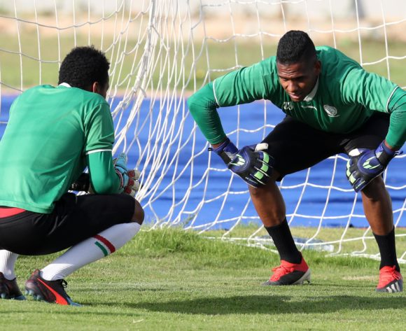 Jean Randrianasolo Leda with Melvin Adrien of Madagascar during the 2019 Africa Cup of Nations Madagascar Training at the Borg El Arab Stadium Annex, Alexandria on the 05 July 2019 ©Muzi Ntombela/BackpagePix
