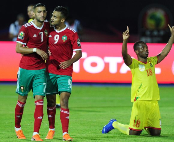 Hakim Ziyach of Morocco is consoled by teammate Sofiane Boufal of Morocco after missing a last minute penalty during the 2019 Africa Cup of Nations Finals last 16 match between Morocco and Benin at the Al Salam Stadium in Cairo, Egypt on 05 July 2019 © Ryan Wilkisky/BackpagePix