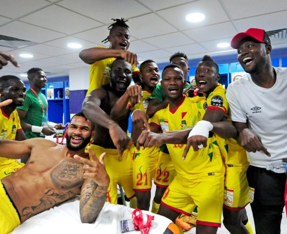 Benin players celebrate in their dressing room after beating Morocco in a penalty shootout during the 2019 Africa Cup of Nations Finals last 16 match between Morocco and Benin at the Al Salam Stadium in Cairo, Egypt on 05 July 2019 © Ryan Wilkisky/BackpagePix