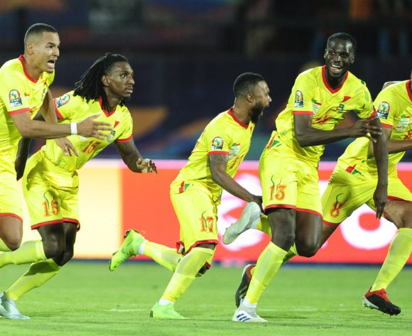 Benin players run to celebrate after beating Morocco after a penalty shootout during the 2019 Africa Cup of Nations Finals last 16 match between Morocco and Benin at the Al Salam Stadium in Cairo, Egypt on 05 July 2019 © Ryan Wilkisky/BackpagePix