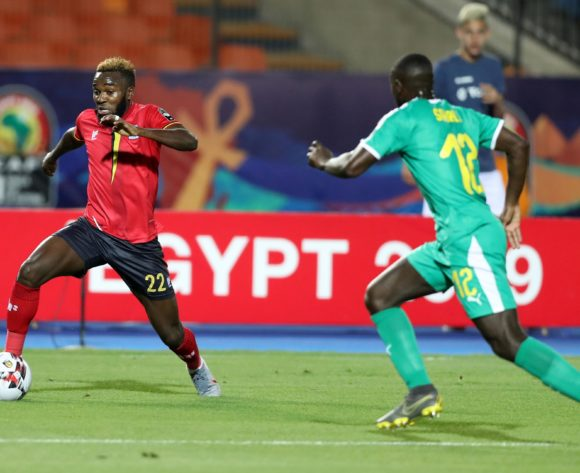 Abdu Lumala of Uganda challenged by Youssouf Sabaly of Senegal during the 2019 Africa Cup of Nations Finals last 16 match between Uganda and Senegal at Cairo International Stadium, Cairo, Egypt on 05 July 2019 ©Samuel Shivambu/BackpagePix