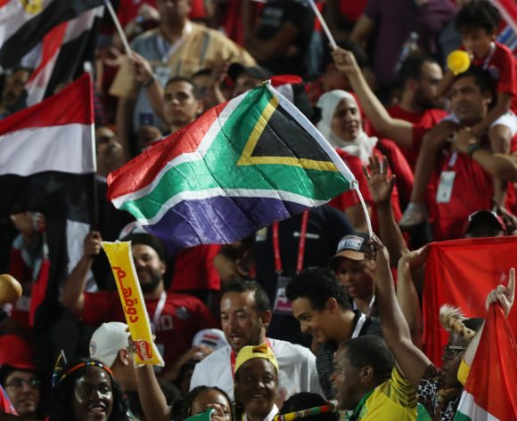 South African flag during the 2019 Africa Cup of Nations Finals Last 16 football match between Egypt and South Africa at the Cairo International Stadium, Cairo, Egypt on 06 July 2019 ©Gavin Barker/BackpagePix