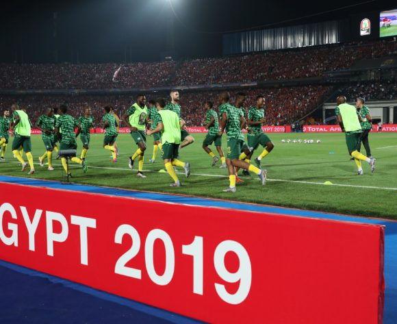 South Africa players warm up during the 2019 Africa Cup of Nations Finals Last 16 football match between Egypt and South Africa at the Cairo International Stadium, Cairo, Egypt on 06 July 2019 ©Gavin Barker/BackpagePix