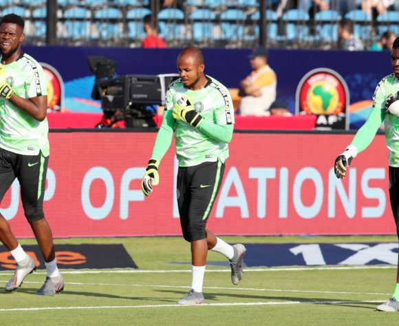Francis Uzoho, Ikechukwu Vincent Ezenwa and Daniel Akpeyi of Nigeria during the 2019 Africa Cup of Nations Last 16 match between Nigeria and Cameroon at the Alexandria Stadium, Alexandria on the 06 July 2019 ©Muzi Ntombela/BackpagePix