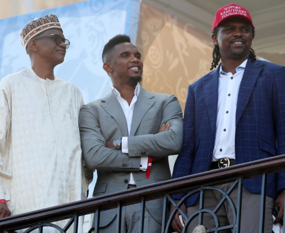 Nwankwo Kanu and Samuel Etoo during the 2019 Africa Cup of Nations Last 16 match between Nigeria and Cameroon at the Alexandria Stadium, Alexandria on the 06 July 2019 ©Muzi Ntombela/BackpagePix