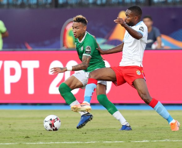 Anicet Andrianantenaina of Madagascar challenged by Cedric Bakambu of DR Congo during the 2019 Africa Cup of Nations Last 16 match between Madagascar and DR Congo at the Alexandria Stadium, Alexandria on the 07 July 2019 ©Muzi Ntombela/BackpagePix