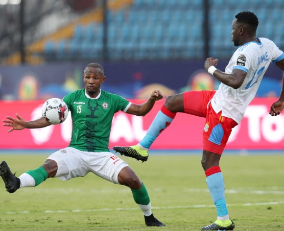 Wilfred Moke of DR Congo challenged by Ibrahim Samuel Amada of Madagascar during the 2019 Africa Cup of Nations Last 16 match between Madagascar and DR Congo at the Alexandria Stadium, Alexandria on the 07 July 2019 ©Muzi Ntombela/BackpagePix