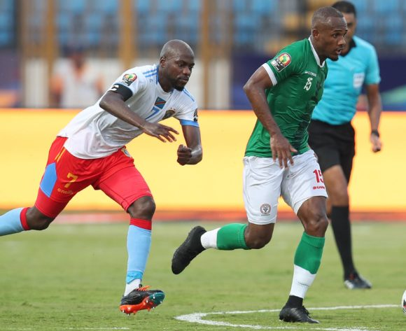 Ibrahim Samuel Amada of Madagascar challenged by Mulumbu Yousuf of DR Congo during the 2019 Africa Cup of Nations Last 16 match between Madagascar and DR Congo at the Alexandria Stadium, Alexandria on the 07 July 2019 ©Muzi Ntombela/BackpagePix