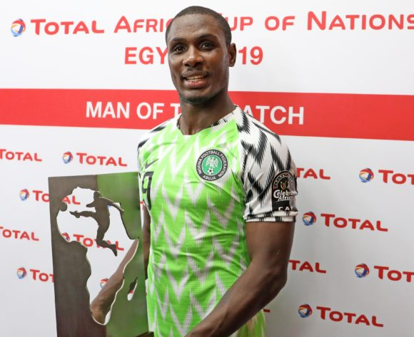 Odion Jude Ighalo of Nigeria wins man of the match award during the 2019 Africa Cup of Nations Last 16 match between Nigeria and Cameroon at the Alexandria Stadium, Alexandria on the 06 July 2019 ©Muzi Ntombela/BackpagePix