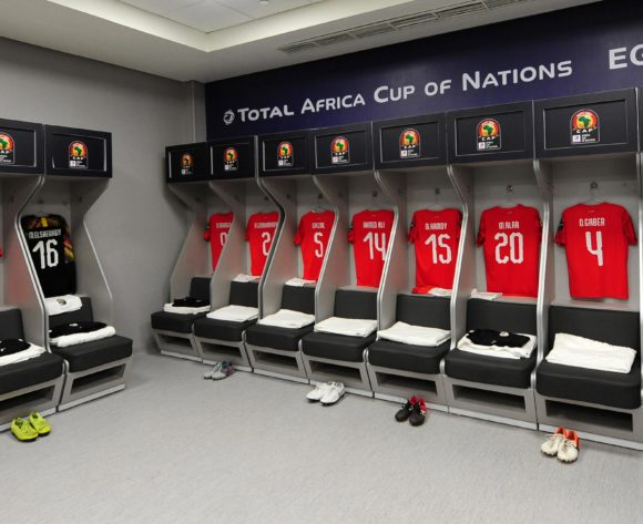 General view inside the Egypt dressing room before the 2019 Africa Cup of Nations Finals last 16 match between Egypt and South Africa at Cairo International Stadium in Cairo, Egypt on 06 July 2019 © Ryan Wilkisky/BackpagePix