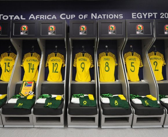 General view inside the South Africa dressing room before the 2019 Africa Cup of Nations Finals last 16 match between Egypt and South Africa at Cairo International Stadium in Cairo, Egypt on 06 July 2019 © Ryan Wilkisky/BackpagePix