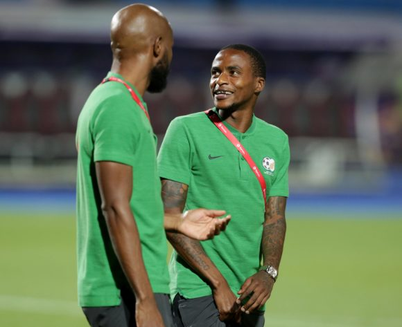 Ramahlwe Mphahlele and Thembinkosi Lorch of South Africa during the 2019 Africa Cup of Nations Finals last 16 match between Egypt and South Africa at Cairo International Stadium, Cairo, Egypt on 06 July 2019 ©Samuel Shivambu/BackpagePix