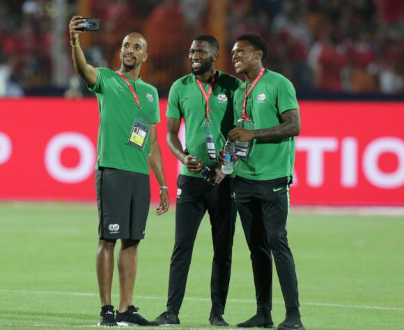 Tiyani Mabunda, Buhle Mkhwanazi and Lebo Mothiba of South Africa during the 2019 Africa Cup of Nations Finals last 16 match between Egypt and South Africa at Cairo International Stadium, Cairo, Egypt on 06 July 2019 ©Samuel Shivambu/BackpagePix