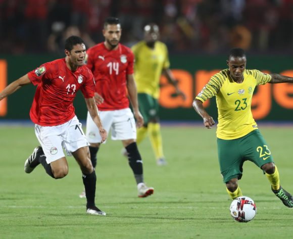 Thembinkosi Lorch of South Africa challenged by Walid Soliman of Egypt during the 2019 Africa Cup of Nations Finals last 16 match between Egypt and South Africa at Cairo International Stadium, Cairo, Egypt on 06 July 2019 ©Samuel Shivambu/BackpagePix