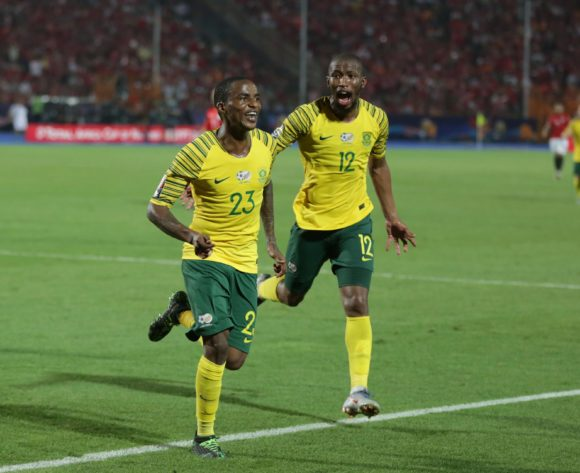 Thembinkosi Lorch celebrates goal with Kamohelo Mokotjo of South Africa during the 2019 Africa Cup of Nations Finals last 16 match between Egypt and South Africa at Cairo International Stadium, Cairo, Egypt on 06 July 2019 ©Samuel Shivambu/BackpagePix