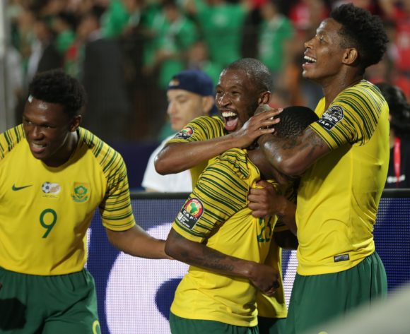 Thembinkosi Lorch of South Africa celebrates goal with teammates during the 2019 Africa Cup of Nations Finals last 16 match between Egypt and South Africa at Cairo International Stadium, Cairo, Egypt on 06 July 2019 ©Samuel Shivambu/BackpagePix