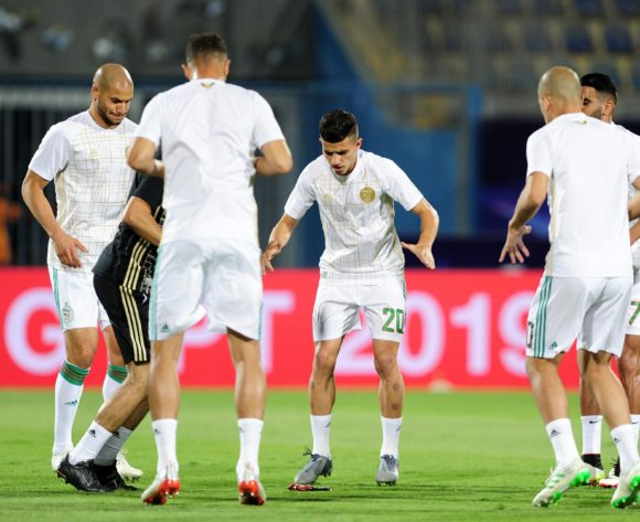 Algeria players warm up before the 2019 Africa Cup of Nations Finals last 16 match between Algeria and Guinea at 30 June Stadium in Cairo, Egypt on 07 July 2019 © Ryan Wilkisky/BackpagePix