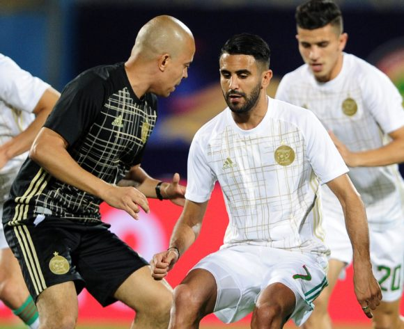 Riyad Mahrez of Algeria warms up before the 2019 Africa Cup of Nations Finals last 16 match between Algeria and Guinea at 30 June Stadium in Cairo, Egypt on 07 July 2019 © Ryan Wilkisky/BackpagePix