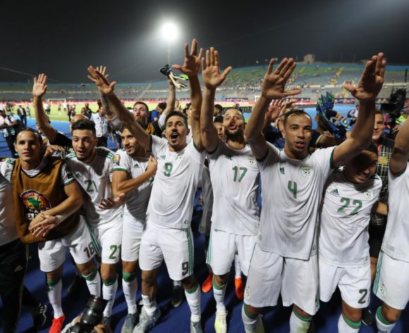 Algeria players celebrates a victory during the 2019 Africa Cup of Nations Finals last 16 match between Algeria and Guinea at 30 June Stadium, Cairo, Egypt on 07 July 2019 ©Samuel Shivambu/BackpagePix