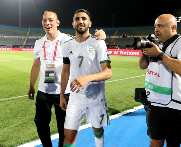 Riyad Mahrez of Algeria celebrates a victory during the 2019 Africa Cup of Nations Finals last 16 match between Algeria and Guinea at 30 June Stadium, Cairo, Egypt on 07 July 2019 ©Samuel Shivambu/BackpagePix