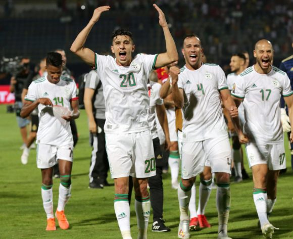 Youcef Atal of Algeria leads the celebrates a victory with teammates during the 2019 Africa Cup of Nations Finals last 16 match between Algeria and Guinea at 30 June Stadium, Cairo, Egypt on 07 July 2019 ©Samuel Shivambu/BackpagePix