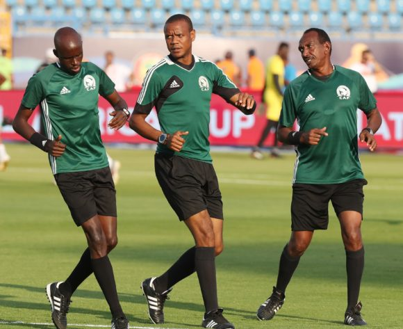 The match officials warm up during the 2019 Africa Cup of Nations Finals Last 16 football match between Ivory Coast and Mali at the Suez Stadium, Suez, Egypt on 08 July 2019 ©Gavin Barker/BackpagePix