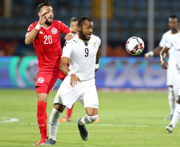 Jordan Ayew of Ghana challenged by Ghaylen Chaaleli of Tunisia during the 2019 Africa Cup of Nations Last 16 match between Ghana and Tunisia at the Ismailia Stadium, Ismailia on the 08 July 2019 ©Muzi Ntombela/BackpagePix