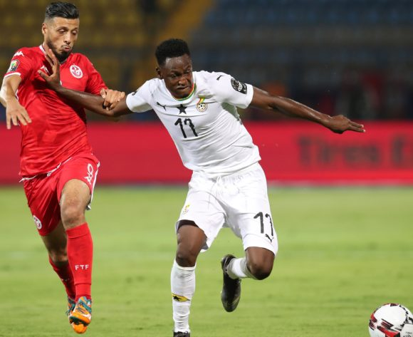 Abdul Rahman Baba of Ghana challenged by Anice Badri of Tunisia during the 2019 Africa Cup of Nations Last 16 match between Ghana and Tunisia at the Ismailia Stadium, Ismailia on the 08 July 2019 ©Muzi Ntombela/BackpagePix