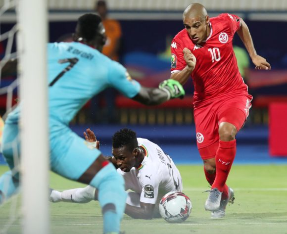 Wahbi Khazri of Tunisia tackled by John Boye of Ghana during the 2019 Africa Cup of Nations Last 16 match between Ghana and Tunisia at the Ismailia Stadium, Ismailia on the 08 July 2019 ©Muzi Ntombela/BackpagePix