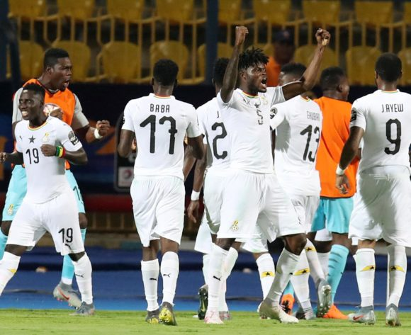 Asamoah Gyan of Ghana celebrates goal with teammates during the 2019 Africa Cup of Nations Last 16 match between Ghana and Tunisia at the Ismailia Stadium, Ismailia on the 08 July 2019 ©Muzi Ntombela/BackpagePix