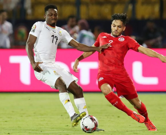 Wajdi Kechrida of Tunisia challenged by Abdul Rahman Baba of Ghana during the 2019 Africa Cup of Nations Last 16 match between Ghana and Tunisia at the Ismailia Stadium, Ismailia on the 08 July 2019 ©Muzi Ntombela/BackpagePix