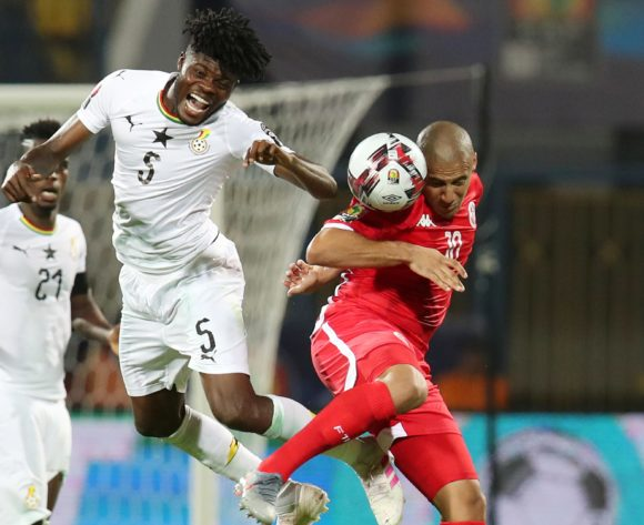 Thomas Teye Partey of Ghana challenged by Wahbi Khazri of Tunisia during the 2019 Africa Cup of Nations Last 16 match between Ghana and Tunisia at the Ismailia Stadium, Ismailia on the 08 July 2019 ©Muzi Ntombela/BackpagePix