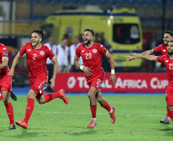 Tunisia players celebrates victory during the 2019 Africa Cup of Nations Last 16 match between Ghana and Tunisia at the Ismailia Stadium, Ismailia on the 08 July 2019 ©Muzi Ntombela/BackpagePix