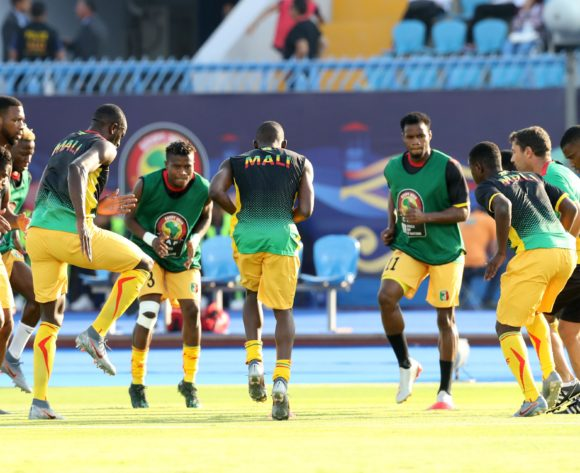 Mali players warm up during the 2019 Africa Cup of Nations Finals last 16 match between Mali and Ivory Coast at Suez Stadium, Suez, Egypt on 08 July 2019 ©Samuel Shivambu/BackpagePix