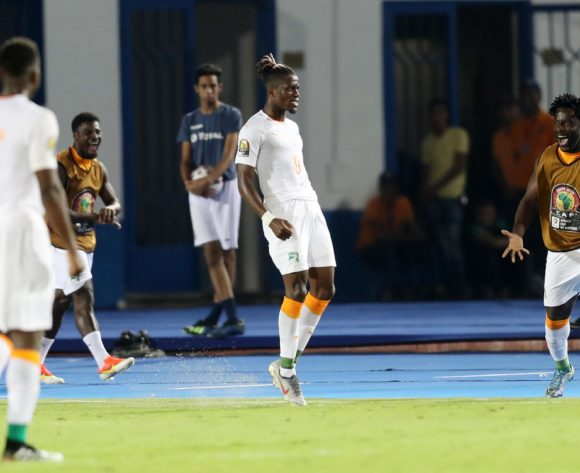 Wilfried Zaha of Ivory Coast celebrates goal with teammates during the 2019 Africa Cup of Nations Finals last 16 match between Mali and Ivory Coast at Suez Stadium, Suez, Egypt on 08 July 2019 ©Samuel Shivambu/BackpagePix
